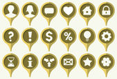 The collection of green pins with common web icons