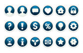 The collection of blue buttons with common web icons