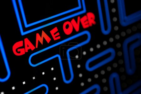 Photo for Screen showing that the Game is Over. Macro picture of a video game. - Royalty Free Image