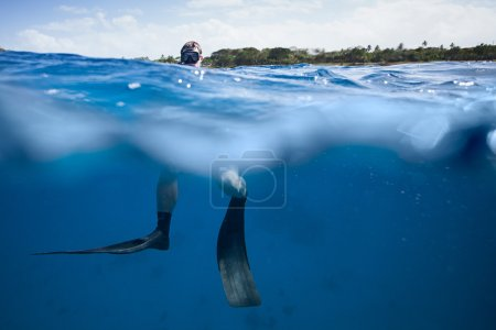Freediver at the Surface of the Ocean
