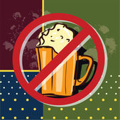 An editable drawing with alcohol beverage - a beer - with a ban sign; may be used for various purposes to promote healthy balanced diet: to