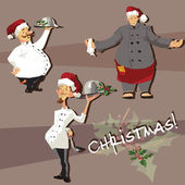 Set of chefs in Christmas hats