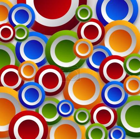 Foto de Círculos de diferente color hermoso sobre fondo blanco crean un fondo de pantalla. - Imagen libre de derechos