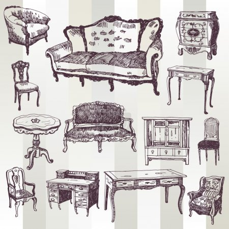 Illustration for Set of Hand Drawn Antique Furniture - Royalty Free Image