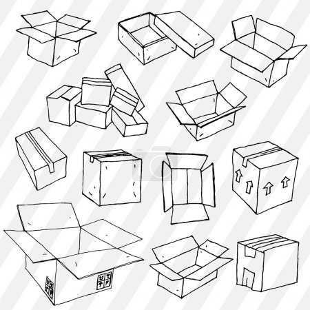 Set of Hand Drawn Empty Packages