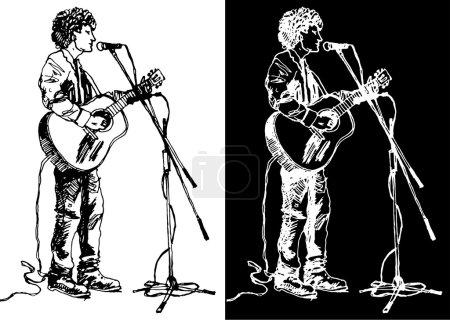 Illustration pour Croquis d'un guitariste - image libre de droit