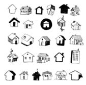 Set of Home Icon Hand Drawn