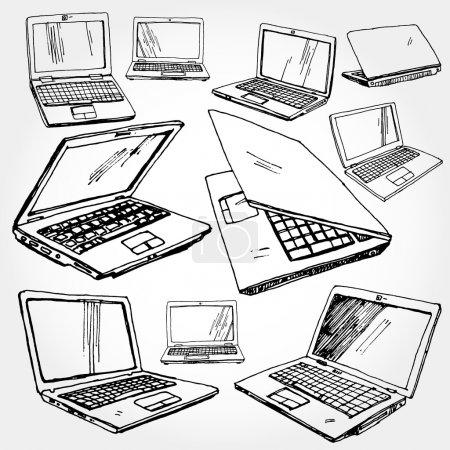 Illustration pour Illustration d'un ordinateur portable dessiné à la main - image libre de droit