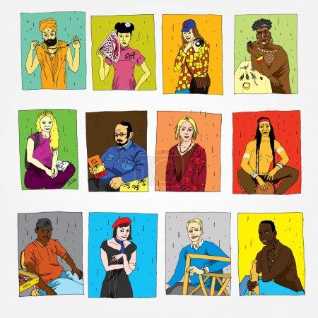Photo pour Ensemble de personnes dessinées à la main de différentes professions et nationalités - image libre de droit
