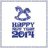 New Year's card with dark blue letters and a horse with snowflakes on a white background