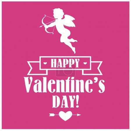 Illustration pour Silhouette vectorielle blanche du Cupidon avec des lettres, un ruban et un cœur sur fond rose - image libre de droit