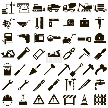 Illustration for 50 black icons vector stoitelnoy equipment, signs and Instrument on white background - Royalty Free Image