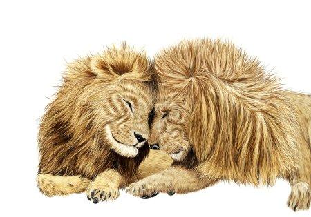 Illustration pour Lion dans la prairie . - image libre de droit