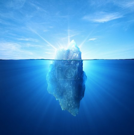 3d illustration, Iceberg under water and above wat...