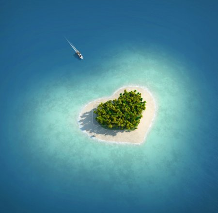 Photo for Yacht heading to heart shaped island seen from the air concept for romantic vacation or valentines. - Royalty Free Image