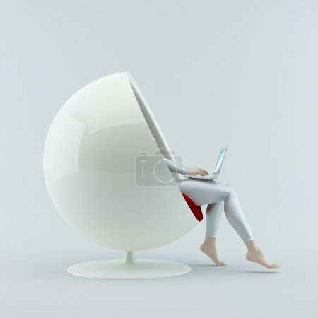 The girl sitting in a chair with laptop.