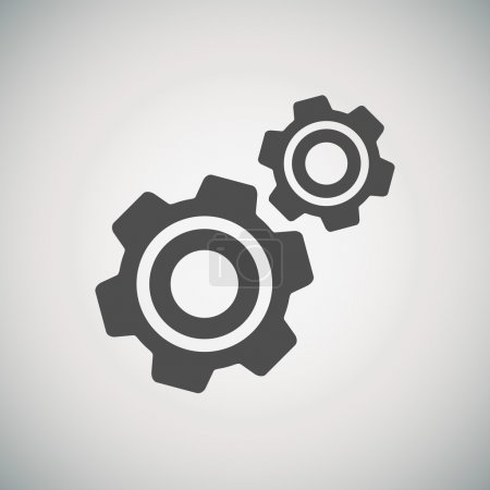 Illustration for Stylish minimalistic icon of the cogwheel and development for your site. - Royalty Free Image