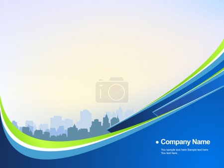 Illustration for Stylish business blue backround with buildings and green elements. - Royalty Free Image