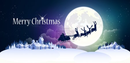 Photo pour Fond de Noël avec rennes et traîneau . - image libre de droit