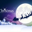Christmas background with reindeer and sleigh.
