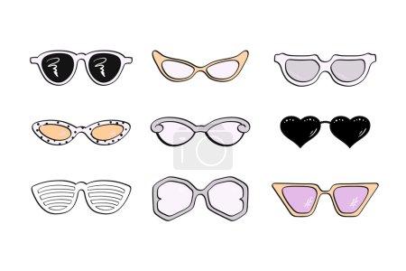 Women fashion isolated sunglasses set