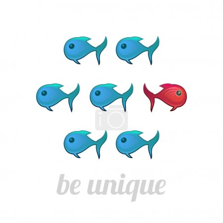 Be unique concept, blue and red fish, isolated