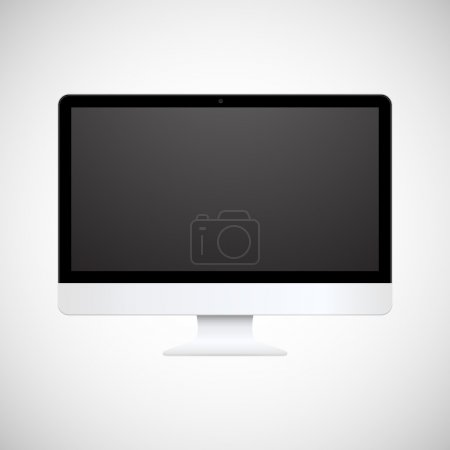 Isolated white computer display