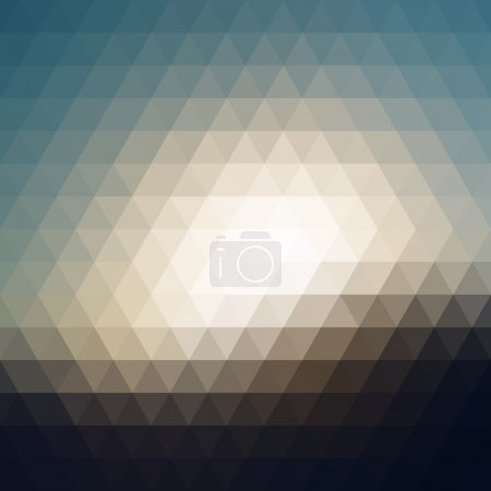 Illustration for Digital triangle pixel mosaic, dark and bright blue brown yellow color, abstract vector background - Royalty Free Image