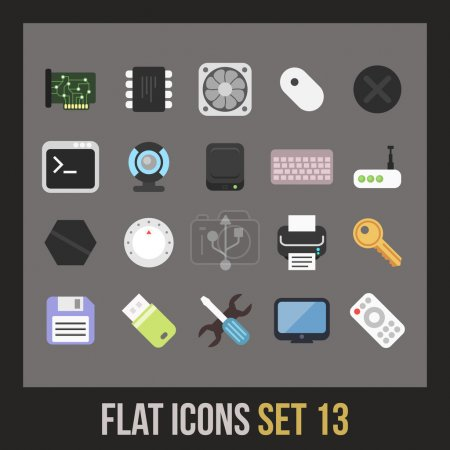 Flat icons set - computer collection...