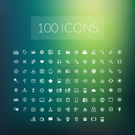 Illustration for Set of 100 simple universal modern thin line icons for web and mobile - Royalty Free Image