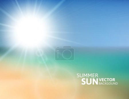 Illustration for Blurry beach and blue sky with summer sun burst, vector background illustration - Royalty Free Image