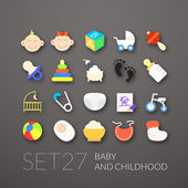 Flat icons set 27 - baby and childhood