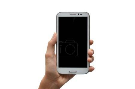 Photo pour Main de femme en utilisant l'écran tactile de téléphone portable sur fond blanc - image libre de droit