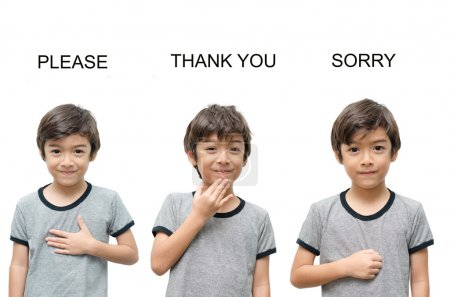 Photo for Please thank you sorry kid hand sign language on white background - Royalty Free Image