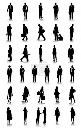 Illustration for Business silhouettes set - Royalty Free Image