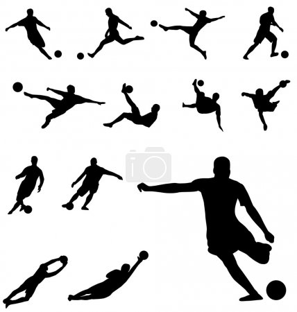 Soccer playing silhouettes set