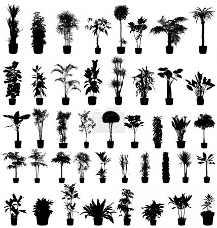 Illustration for Plants silhouettes set - Royalty Free Image