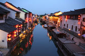 A night view of a canal in old Suzhou, China