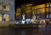 Fragment of historical town square in Poznan, Poland with a fou