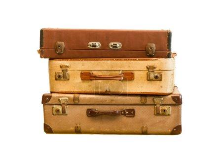 haufen alter vintage tasche koffer auf