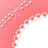 Frame with Bow and Beads on Polka Dots Background