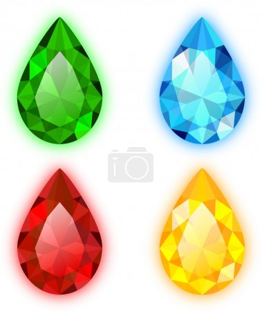 The Set of Four Colorful Gems Pear Shaped
