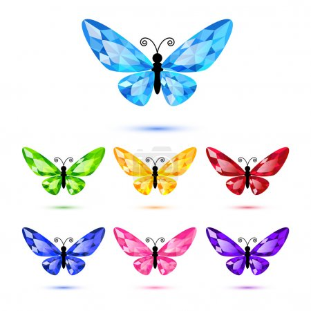 Illustration for Set of diamond butterflies isolated on white for decoration - Royalty Free Image