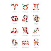 Multicolored Zodiac Symbol Icons Isolated on White