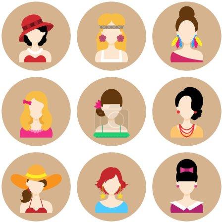 Illustration pour Ensemble d'icônes de cercle plat avec différents styles de mode de femmes. Caractères vectoriels - image libre de droit