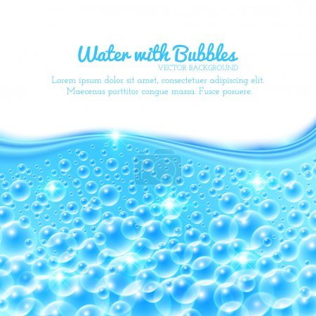 Illustration for Shining Underwater Background with Bubbles. Vector illustration - Royalty Free Image