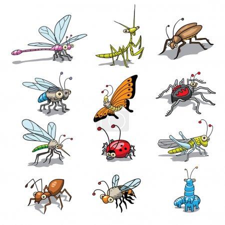 Illustration pour Groupe, collection, d'insectes drôles dessinés - image libre de droit