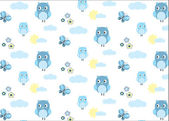 Baby boy owl and a butterfly seamless pattern