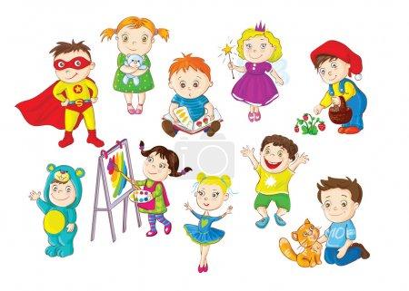 Illustration pour Un ensemble d'illustrations représentant des enfants plus jeunes faisant différentes activités - image libre de droit