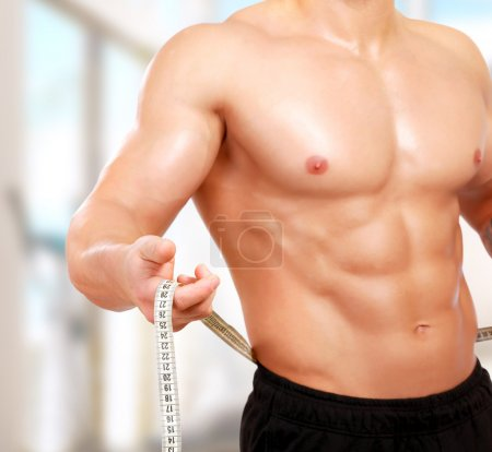 Semi-nude bodybuilder